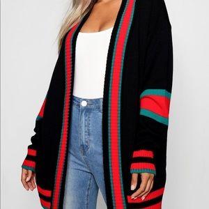 Boohoo Black Plus Stripe Oversized Cardigan